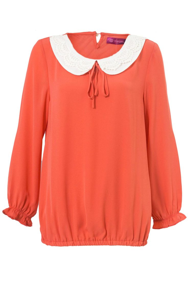 Lace Collar Plain Blouse | TOPGIRL Malaysia - Muslimah Fashion