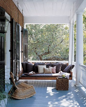 oh martha stewart.....: Decor, Front Porches Swings, Ideas, Porch Swings, Dreams, Southern Porches, Back Porches, House, Outdoor Spaces