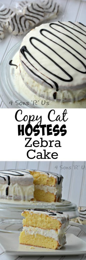 A fluffy whipped cream filling sandwiched between two soft yellow cakes and covered in a luscious layer of white chocolate. This Copy Cat Hostess Zebra Cake is topped off with a chocolate drizzle before being sliced and served. This cake is a fun, delicious homage to one of your favorite childhood treats and an easy way to usher it in for a new generation.