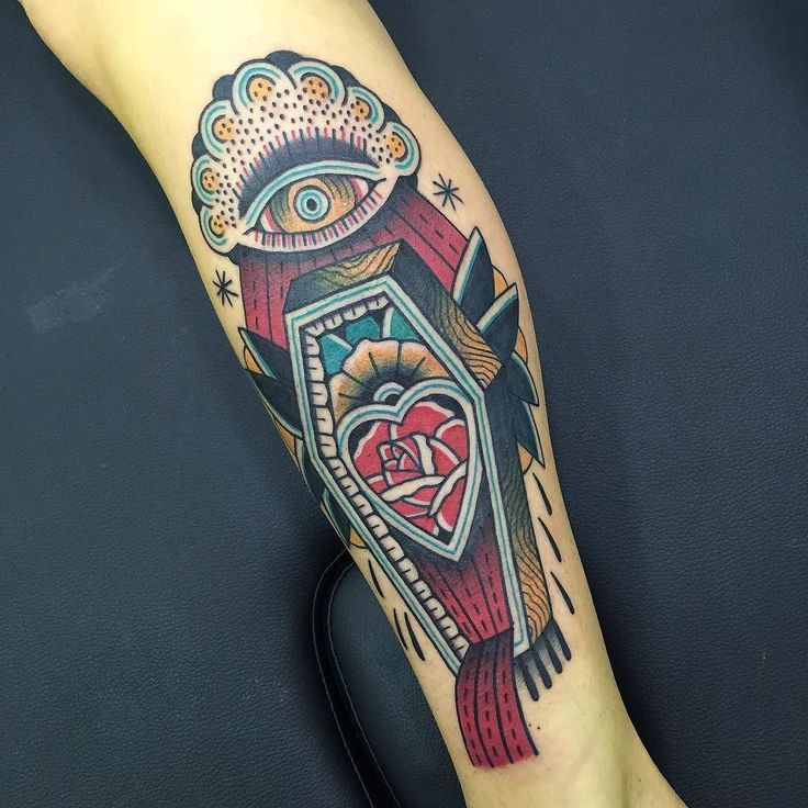 Cool coffin tattoo idea