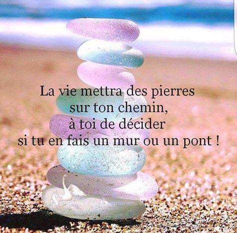 La vie mettra des pierres sur ton chemin, à toi de décider si tu en fais un mur ou un pont.