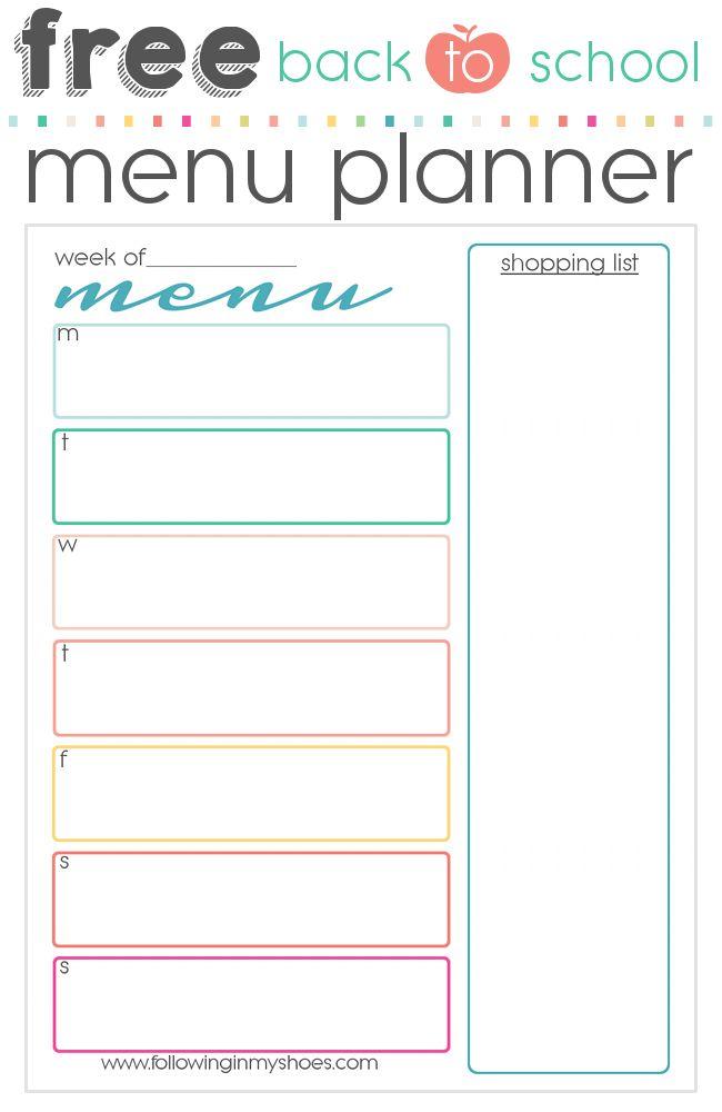 Free printable menu for back to school via followinginmyshoes.com