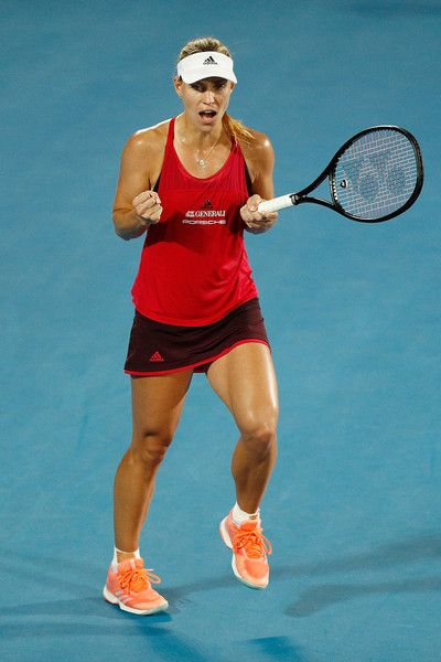 Angelique Kerber of Germany celebrates winning her match against Camila Giorgi of Italy of during day six of the 2018 Sydney International at Sydney Olympic Park Tennis Centre on January 12, 2018 in Sydney, Australia. -