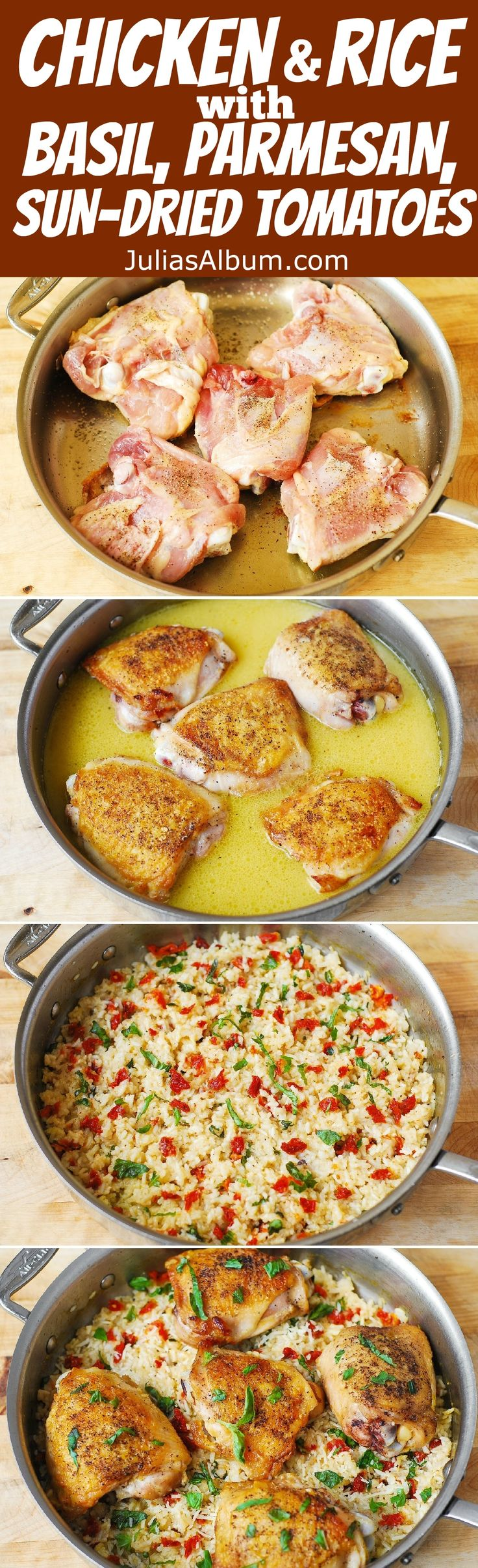 Chicken Thighs with Sun-Dried Tomato Basil Rice - easy, one-pan gluten free recipe.