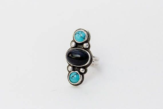 Size 7 | Turquoise and Obsidian 3 Stone Ring | Turquoise Ring | Obsidian Ring | Multistone | Southwestern Jewelry | Turquoise | Silver Ring