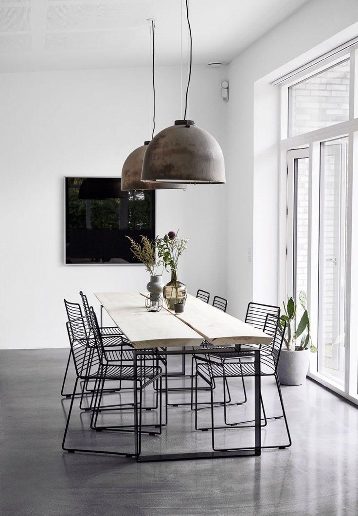 Idee illuminazioni sala da pranzo industrial