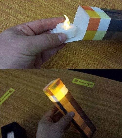 minecraft torch papercraft