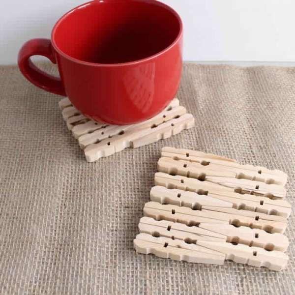 Sous-verre. 20 Projets créatifs avec des pinces à linge en bois