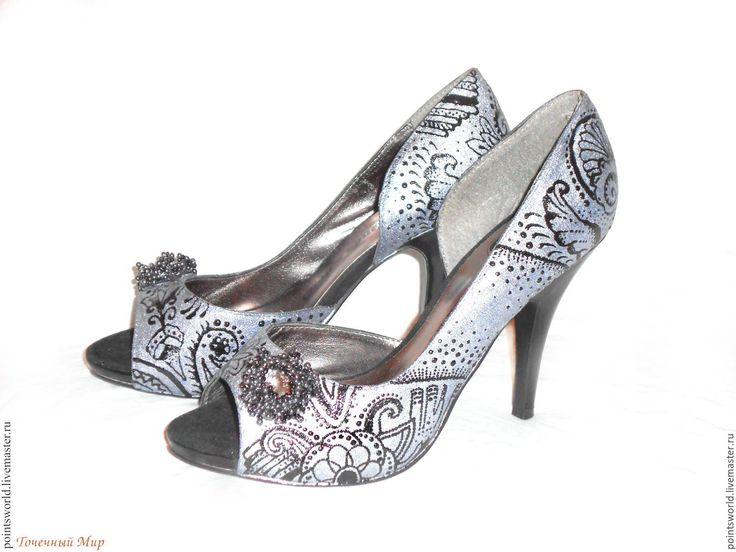 Купить Роспись обуви, серебряные туфли, туфли на выпускной - роспись туфлей, роспись по замше