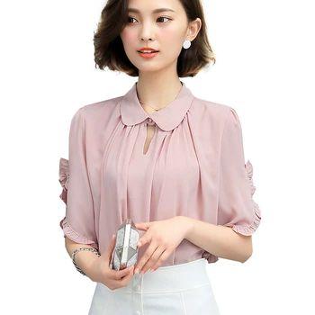 ピンク女性ブラウスホワイトフリルブラウスシャツプラスサイズ衣類エレガントピーターパン襟シフォンブラウスWE183