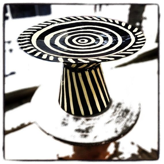 June sale Ceramic Cake Stand / graphic pattern / black and ...