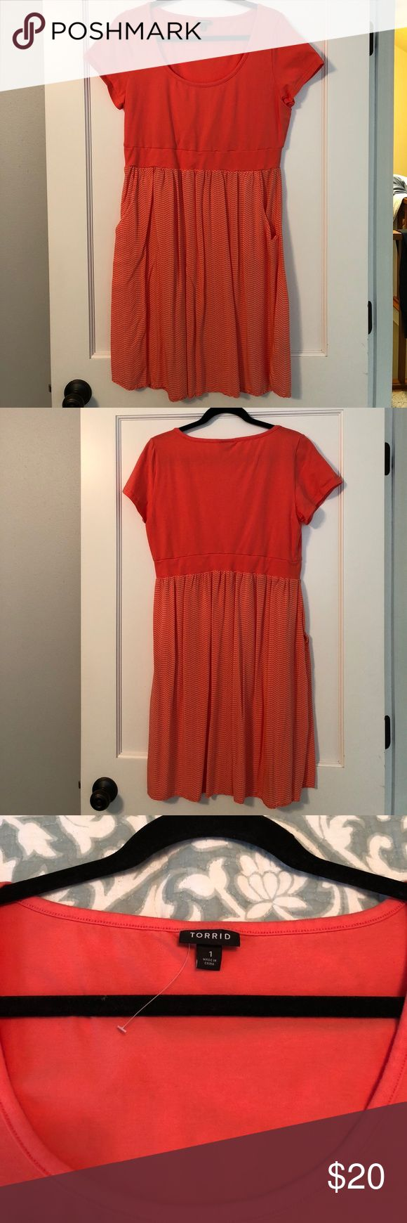 NWOT Torrid Coral Sundress NWOT Torrid coral sundress. The top is stretchy & the lower half is  flowy with pockets. Extremely flattering. torrid Dresses