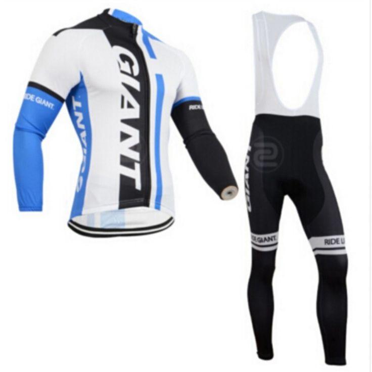 Hot Sale Men's Sportswear GIANT Cycling Clothing Ciclismo Cycling Bike Jersey Long Sleeve Jersey+Racing Bicycle Shirt Gel Pad