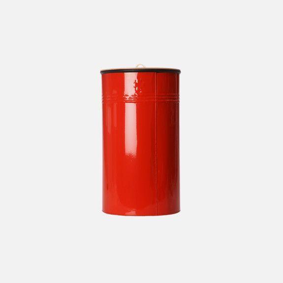 Recycle Bin in Red // Powdered Steel + Birch Ply Lid // Pedersen + Lennard
