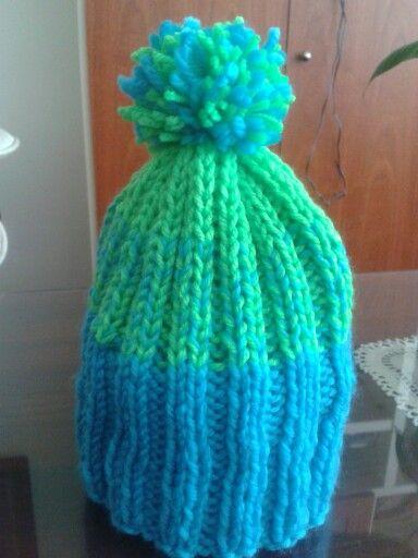 Gorro tricotado 2 agujas