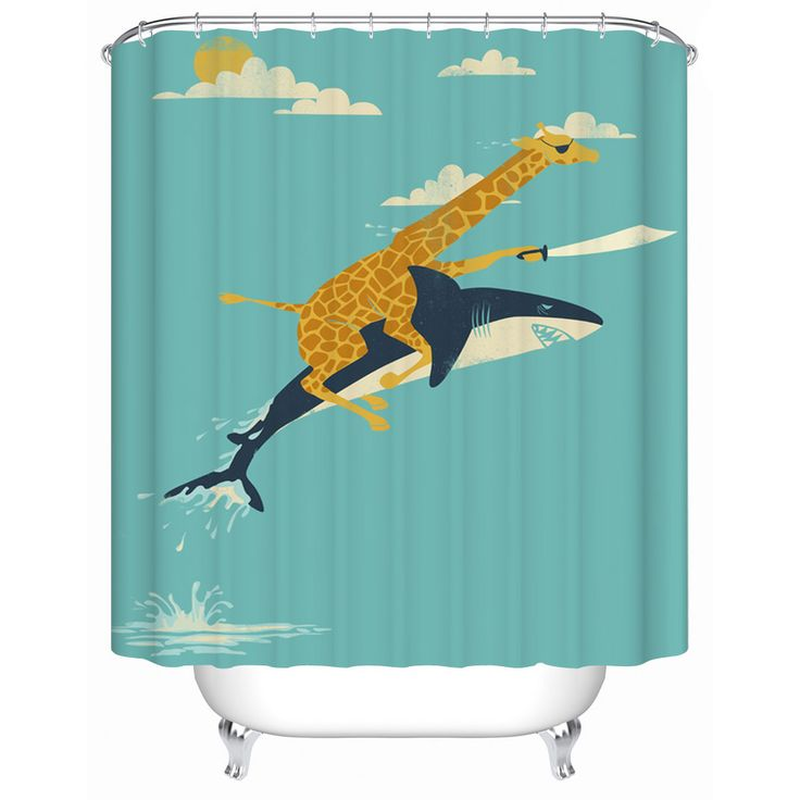 Best Gift Giraffe Riding Shark Waterproof Fabric-shower-curtain Bathroom Products Shower Curtains Bathroom Curtain Y-133