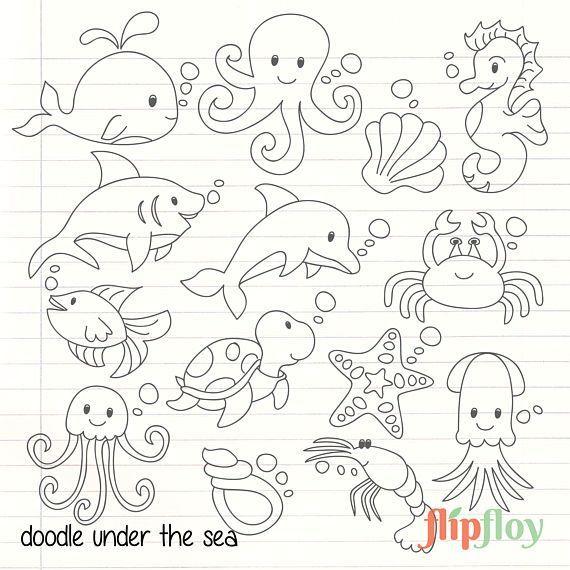 Gekritzel Suss Unter Dem Meer Tier Instant Download 14 Silhoute Sea Symbol Clipart Vector Set Digi Clipart D Fische Zeichnen Tier Doodles Unter Dem Meer