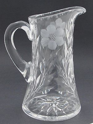 Cut glass pitcher ANTIQUE HAND CUT crystal floral