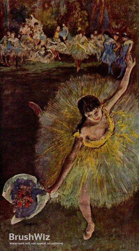 Dancer With Bouquet by Edgar Degas - Oil Painting Reproduction - BrushWiz.com