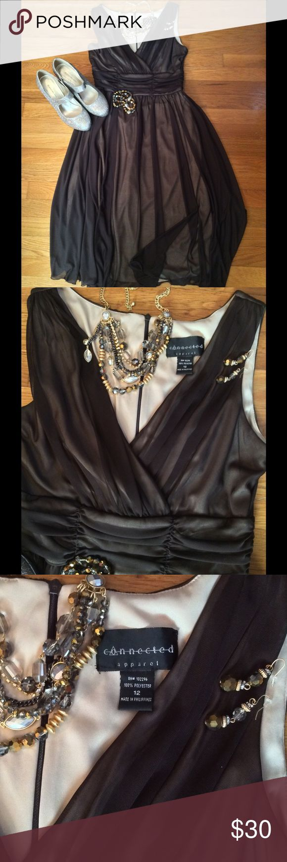 Chocolate This dress is a chocolate brown over a nude liner. Zips up the back. Very pretty. Worn once. EUC Dresses