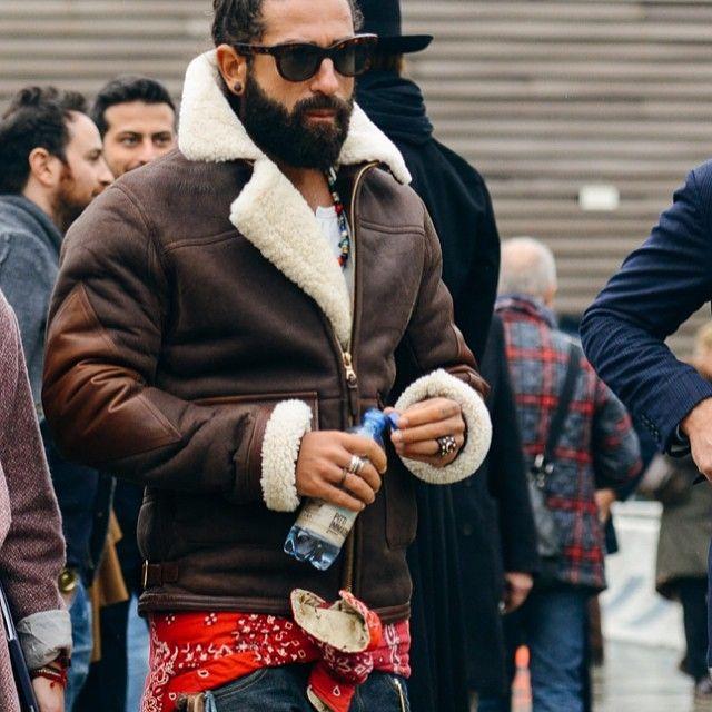 Sheepskin jacket - street style.