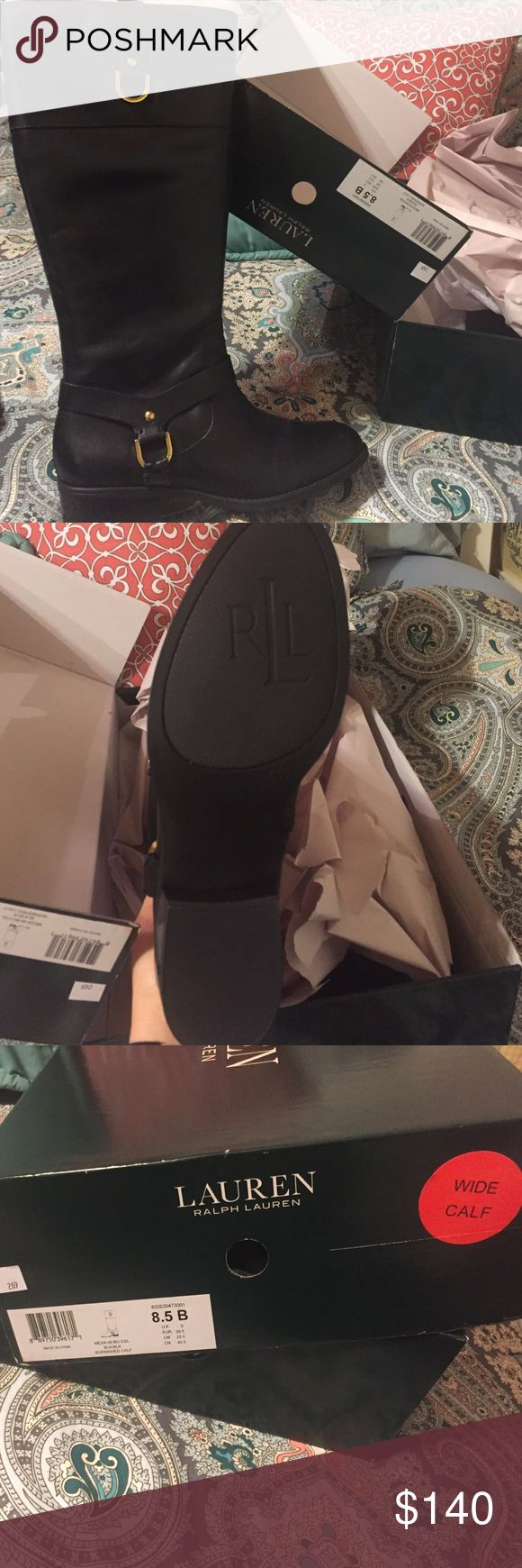 Lauran Ralph Lauran boots Tall wide calf black boots. Brand new. Didn't fit me. Ralph Lauren Shoes