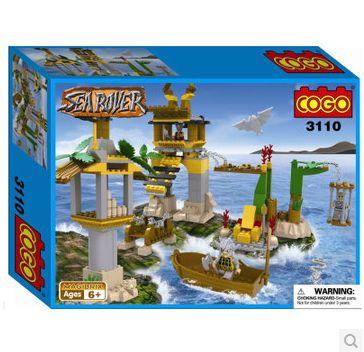 Кг 3110 морской пиратский корабль остров 350 шт. строительный блок устанавливает образования DIY кирпичи игрушки