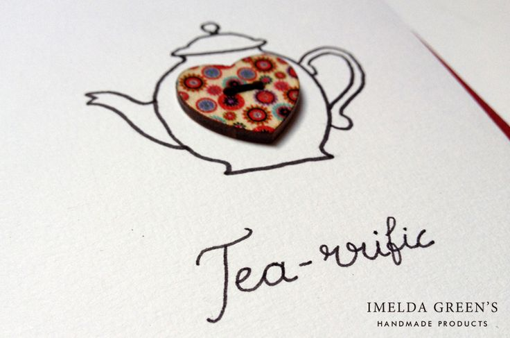 Another piece of my tea-themed greeting cards with buttons.