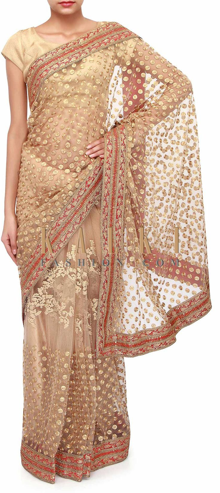 Buy Online from the link below. We ship worldwide (Free Shipping over US$100). Product SKU - 273503. Product Link - http://www.kalkifashion.com/beige-saree-adorn-in-thread-and-zari-embroidery-only-on-kalki.html