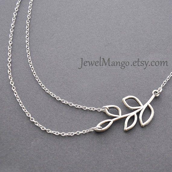 Argento ramo doppia catena dainty collana, collana di Multi strato, ramo doppio filamento, bosco, ramo, foglie, nozze