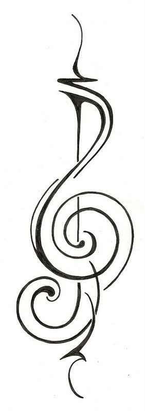 Music treble clef original tattoo design ginaleecincotta@gmail.com