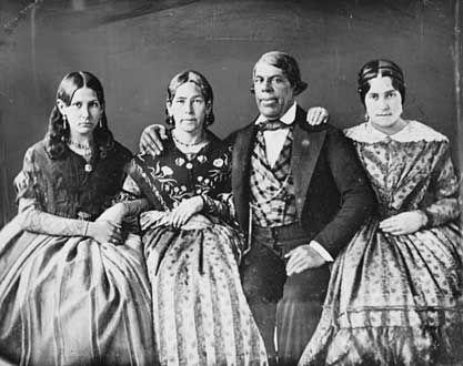 Pio Pico family: Marianita Alvarado (niece), Señora Pico, Pio Pico, Trinidad Ortega (niece), c.1850.