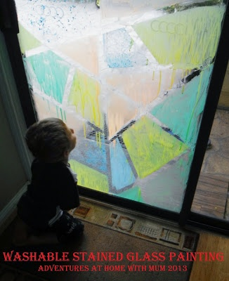 Window painting and tape resist