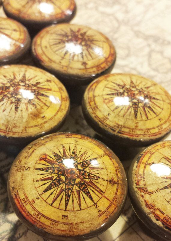 20 Compass Birch Knobs Drawer Pulls, Handmade Old World Nautical Cabinet Pull Handles, Antique Style Dresser Knobs, Made to Order