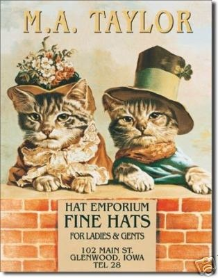 Hat Store Cats Kittens Tin Sign 360 Boutique Gift Retro | eBay