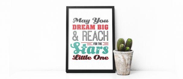 Dream Big Nursery Art, cute typography and FREE