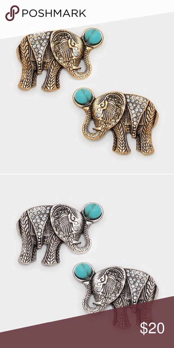 Coming Saturday! Elephant earrings Price dropped to $17 when arrive. Made of brass and copper alloy. Lead and nickel compliant. Comes in gold and silver; comment which you want. Photo courtesy of Farah Jewelry. Smoke free, cat friendly home. Farah Jewelry Jewelry Earrings