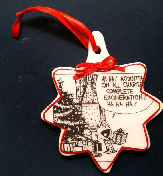 Calvin and Hobbes comics porcelain ornament- Christmas morning on Etsy,  $14.00 | Crafts & More Galore | Pinterest | Calvin and hobbes, Christmas  and ... - Calvin And Hobbes Comics Porcelain Ornament- Christmas Morning On