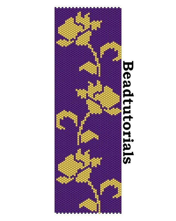 Beading instructions - PDF file Pattern - Roses - Flower bracelet - beaded flower bracelet pattern