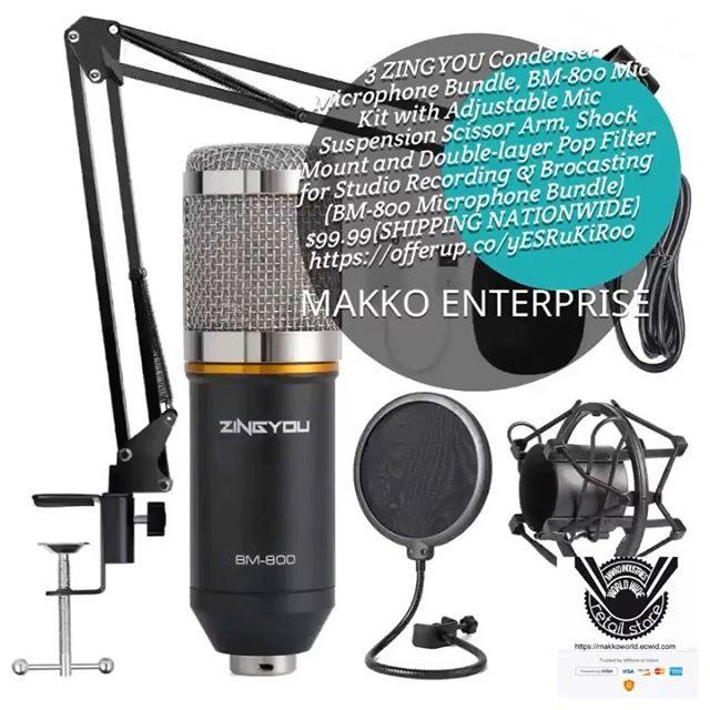 ZINGYOU Condenser Microphone Bundle BM-800 Mic Kit with Adjustable Mic Suspe...