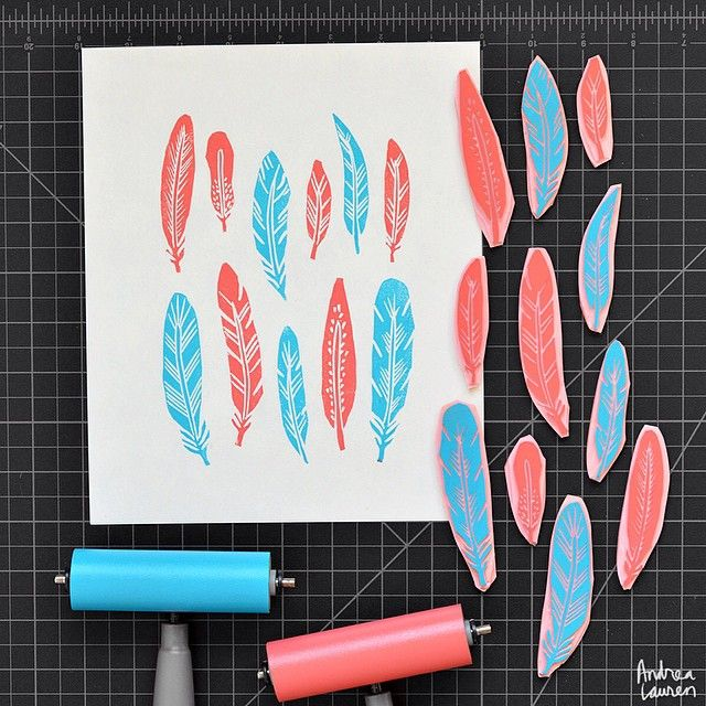 Happy Monday! Here are my feathers carved and printed this morning. p.s. there is free shipping on spoonflower later today if you purchase fabric from there.