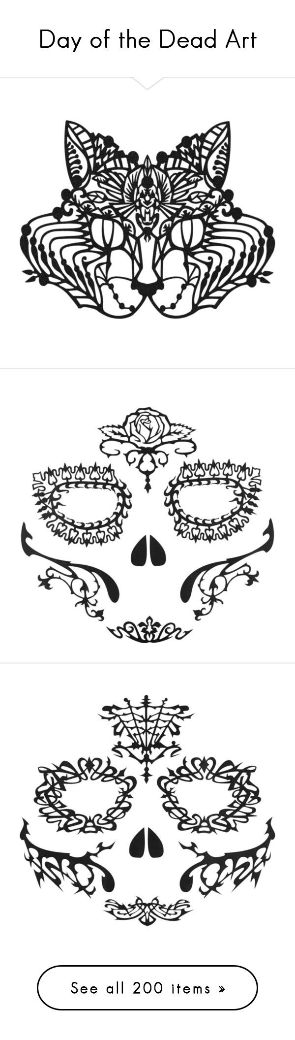 """Day of the Dead Art"" by kristie-miles ❤ liked on Polyvore featuring costumes, wing costume, flower costume, flower halloween costume, egyptian halloween costumes, cat costume, accessories, body art, fillers and makeup"
