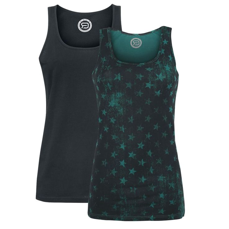 Top double pack from R.E.D. by EMP:  - Crew neck - Sleeveless - 1 x with all-over print - 1 x plain black  Seeing stars? Relax. They're supposed to be there! This Stars All-Over double pack from R.E.D. by EMP provides you with two sporty tops, which are decorated with different prints. These comfortable tops are great basic wear. You can wear them solo or in combination with cardigans and hooded jackets.
