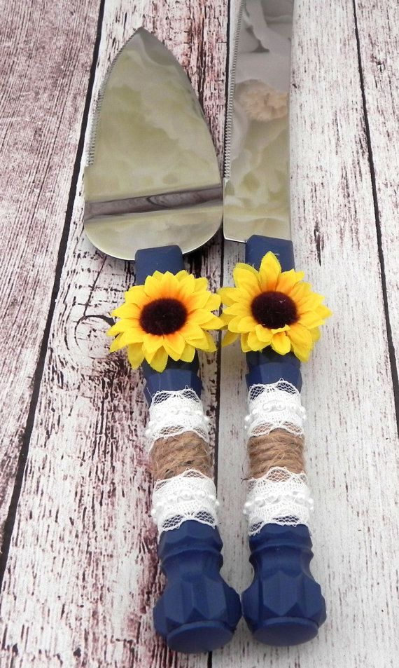 Rustic Sunflower Wedding Cake Server And Knife Set by LavaGifts