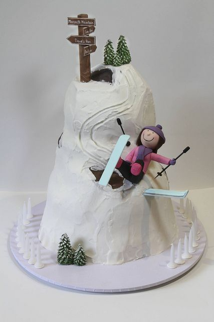 Skiing cake by Creative Cakes by Julie We at Pure Powder may need to start a separate board just for ski-related food!