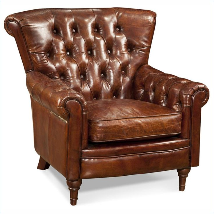 Best Moe S New Castle Tufted Leather Club Arm Chair In Brown 400 x 300