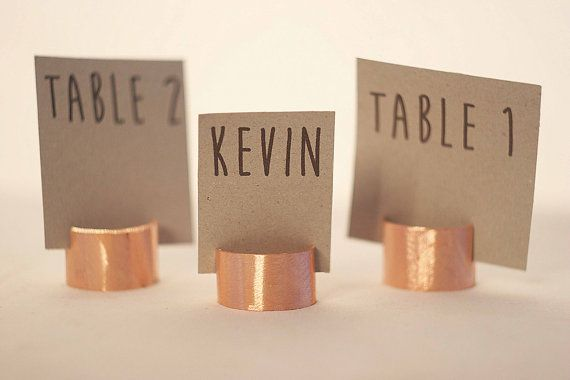 110 Pieces Rustic Copper Pipe Place Card Holders Wedding Name Metal Table Holder Creative