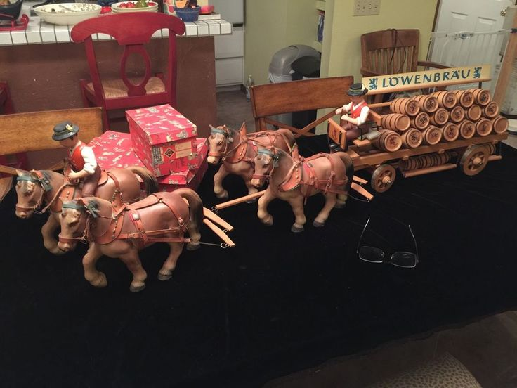 Vintage Lowenbrau Horse Drawn Beer Wagon Horse Drawn