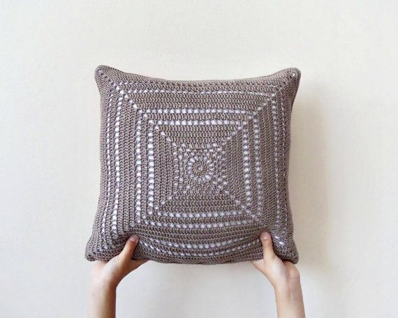 Natural brown crochet pillowcase two sided throw by DiaCrochets