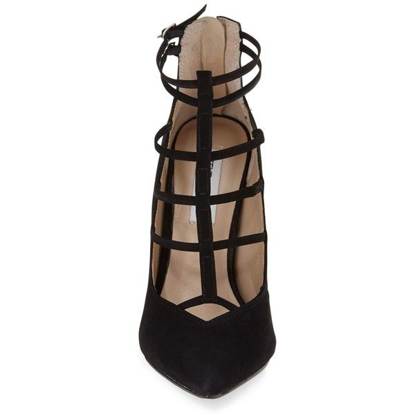 Women's Steve Madden 'Prazed' Ankle Strap Pump ($110) ❤ liked on Polyvore featuring shoes, pumps, pointy-toe pumps, caged shoes, pointed toe ankle strap pumps, nubuck shoes and strappy pumps
